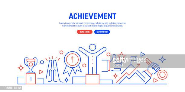 illustrazioni stock, clip art, cartoni animati e icone di tendenza di stile linea banner web di successo e successo. illustrazione vettoriale di design moderno per banner web, intestazione del sito web, ecc. - tributo