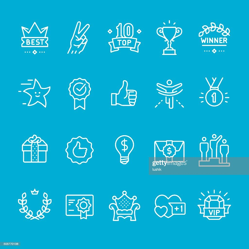 Achievement and Trophy icons collection : stock illustration