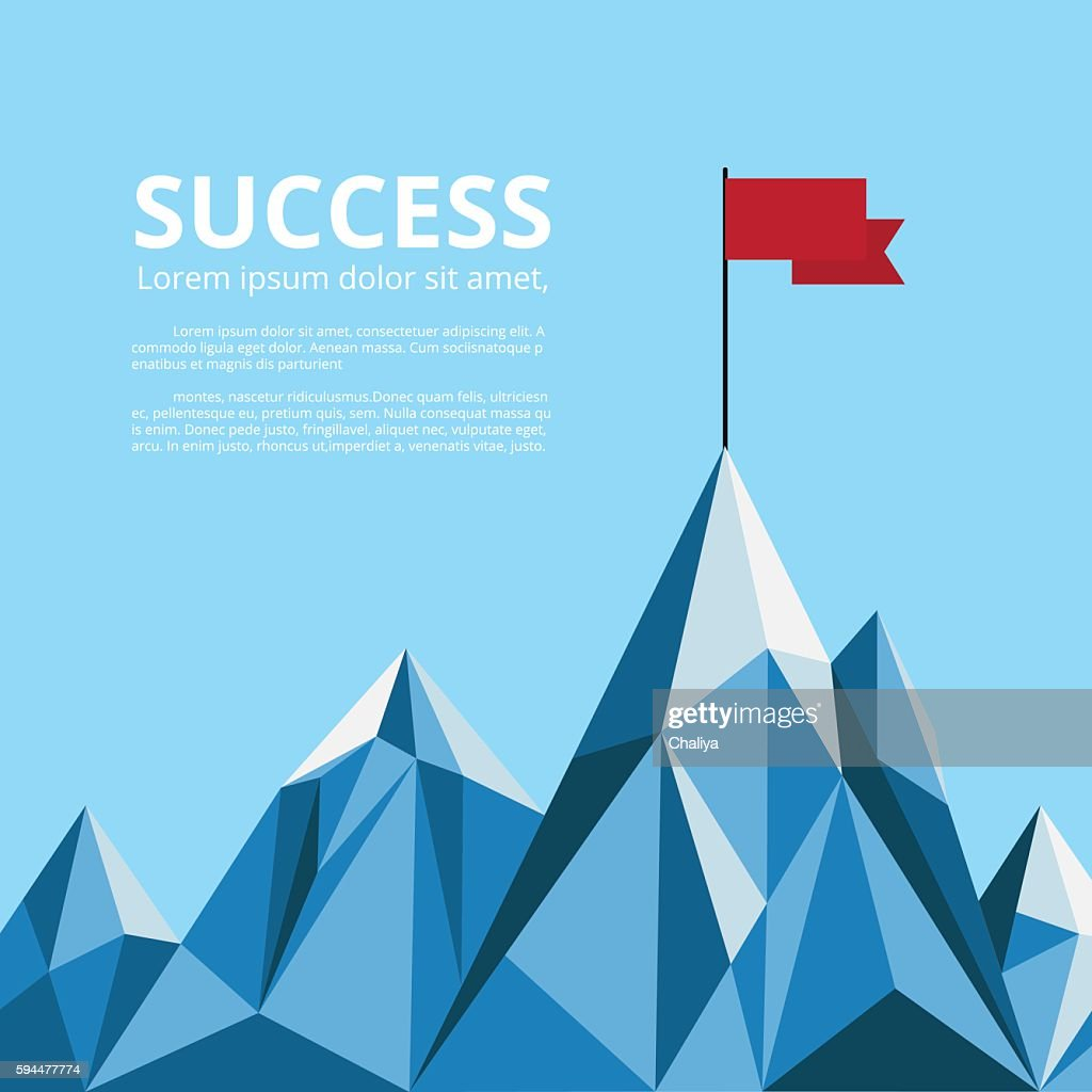 Achievement banner. Flag on top of mountain. Successful concept.