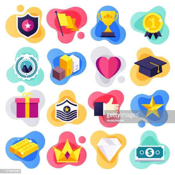 stockillustraties, clipart, cartoons en iconen met verwezenlijking van het leven doelen platte stroom stijl vector icon set - rivaliteit