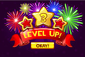 Achievement screen, cartoon icon Level up and button. GUI elements. Icons for game design