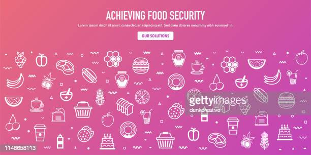 Achieving Food Security Outline Style Web Banner Design