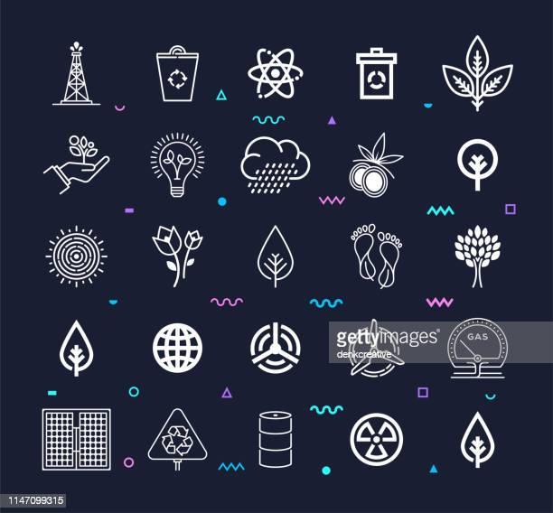 stockillustraties, clipart, cartoons en iconen met het bereiken van duurzaamheid doelen lijnstijl vector icon set - koolstofvoetafdruk