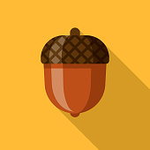 Acorn Flat Design Thanksgiving Icon
