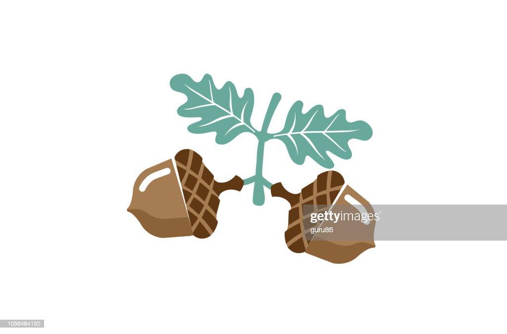 Acorn Fruit Seed Nut Logo