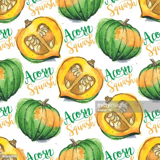 "Acorn Squash Watercolor Vector Seamless Pattern With ""Acorn Squash"" Calligraphic Text"