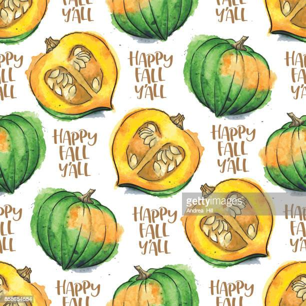 "Acorn Squash Watercolor Vector Seamless Pattern With ""Happy Fall Y'All"" Calligraphic Text"