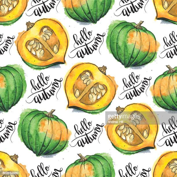 "Acorn Squash Watercolor Vector Seamless Pattern With ""hello autumn"" Calligraphic Text"