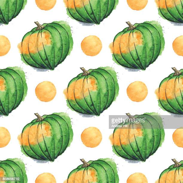 Acorn Squash Watercolor Vector Seamless Pattern With Watercolor Dots