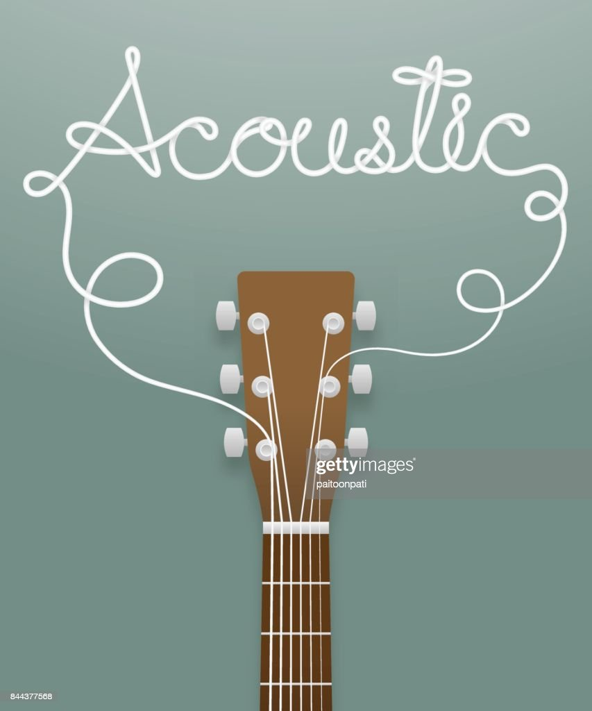 Acoustic guitar brown color and acoustic text made from guitar strings illustration concept idea isolated on dark green gradient background, with copy space vector eps10