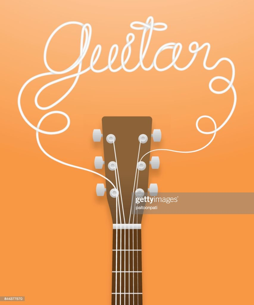 Acoustic guitar brown color and guitar text made from guitar strings illustration concept idea isolated on orange gradient background, with copy space vector eps10