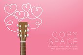 Acoustic guitar brown color and heart symbol made from guitar strings illustration concept idea isolated on pink gradient background, with copy space vector eps10