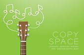 Acoustic guitar brown color and music note symbol made from guitar strings illustration concept idea isolated on green gradient background, with copy space vector eps10
