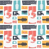 Acoustic guitar collage pattern