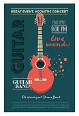 Acoustic guitar concert flyer template. Retro typographical vector poster