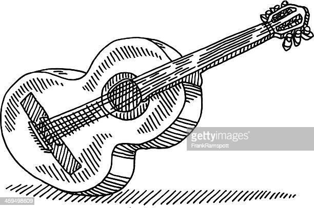 ilustrações, clipart, desenhos animados e ícones de desenho de guitarra acústica - violão
