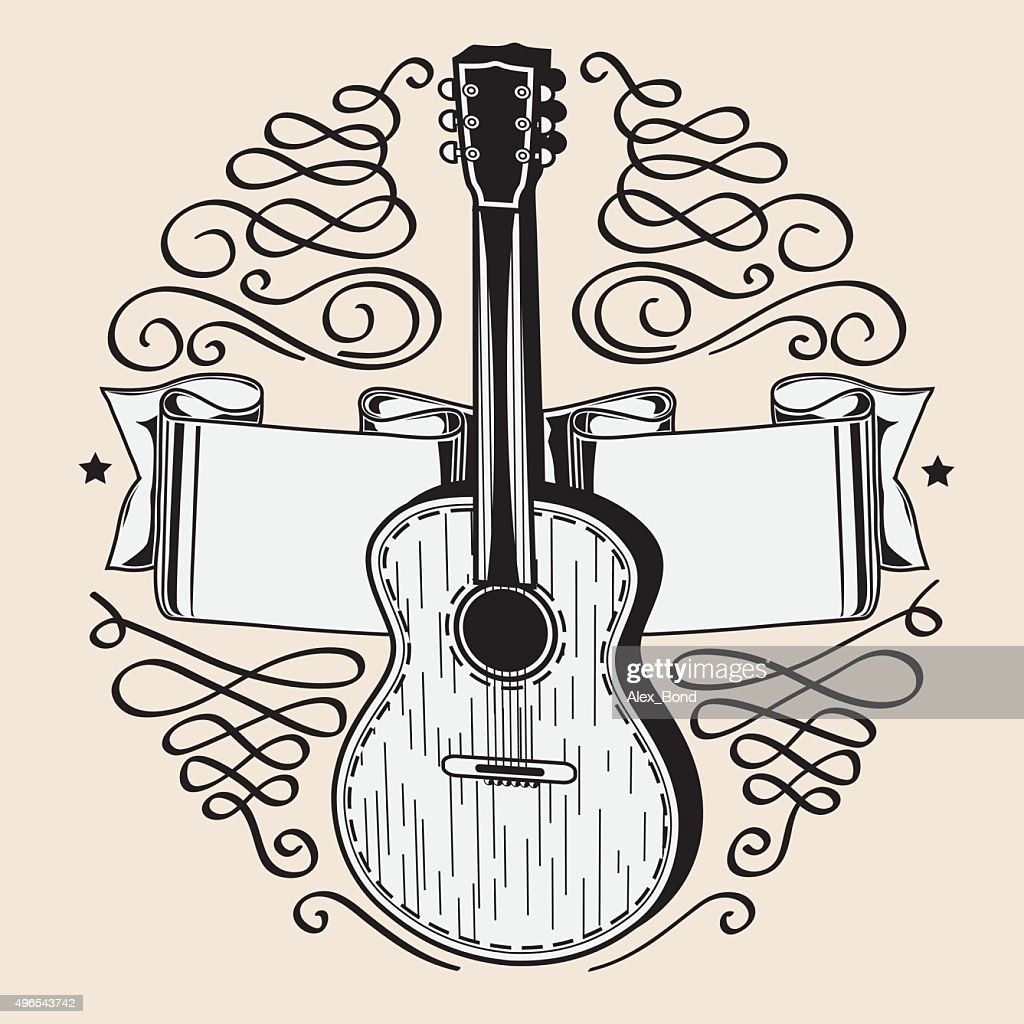 Acoustic guitar emblem