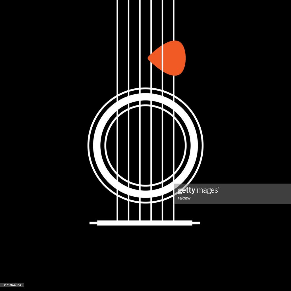 Acoustic Guitar icon. Creative Idea Concept of Musical. Modern Flat thin line icon designed vector illustration
