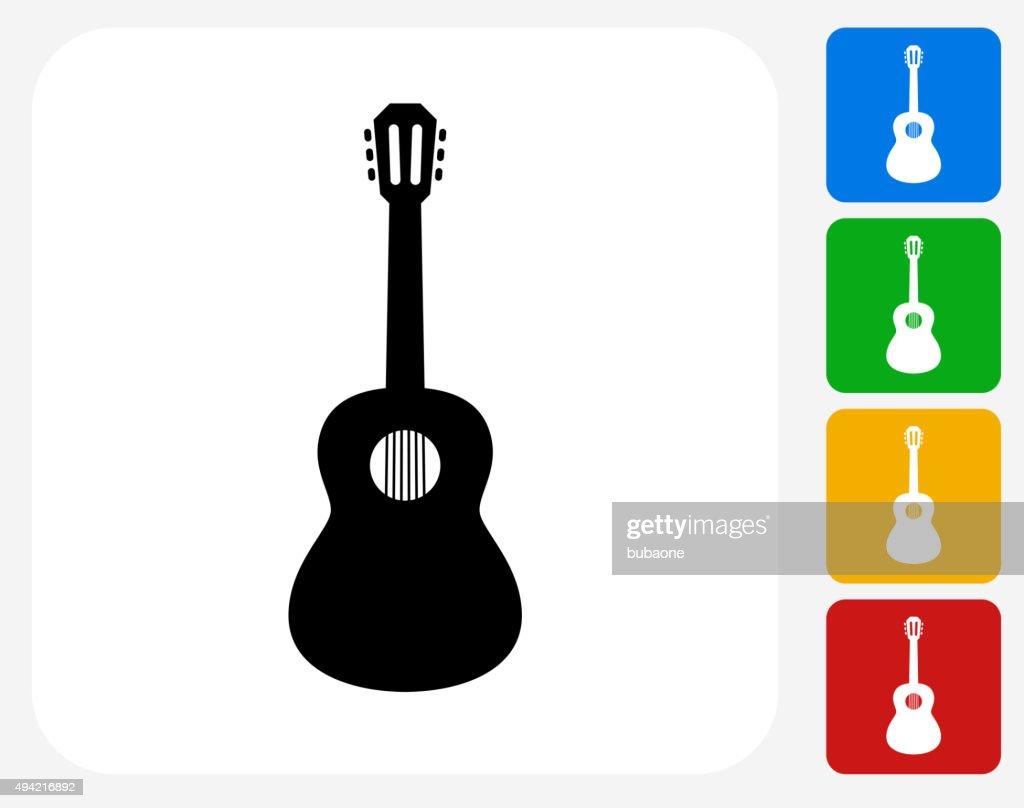 Acoustic Guitar Icon Flat Graphic Design
