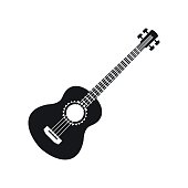 Acoustic guitar icon, simple style
