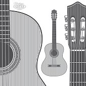 Acoustic Guitar in engraving style
