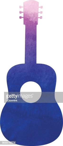 ilustrações, clipart, desenhos animados e ícones de textura aquarela do violão silhueta - violão