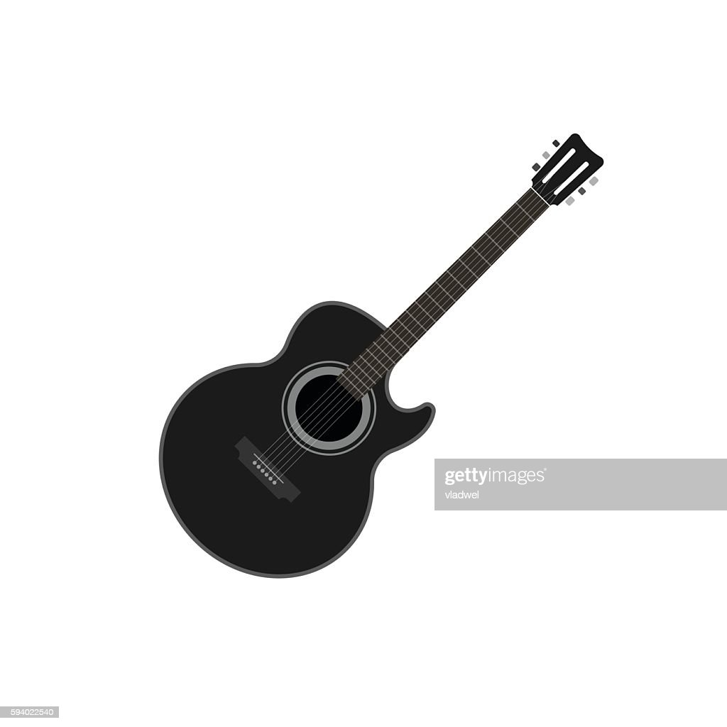 Acoustic guitar vector illustration isolated