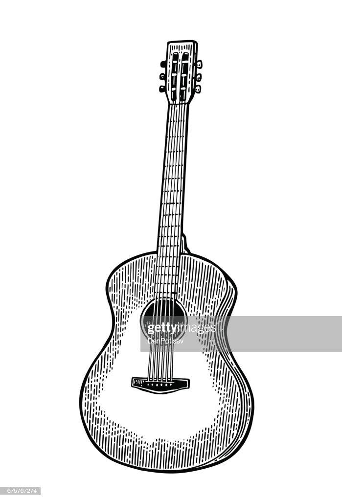 Acoustic guitar. Vintage vector black engraving illustration