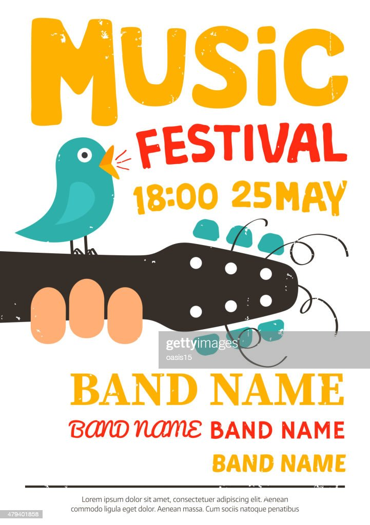 Acoustic music festival poster with a bird singing on a guitar