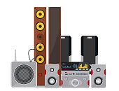 Acoustic sound system stereo flat vector music loudspeakers player subwoofer equipment technology