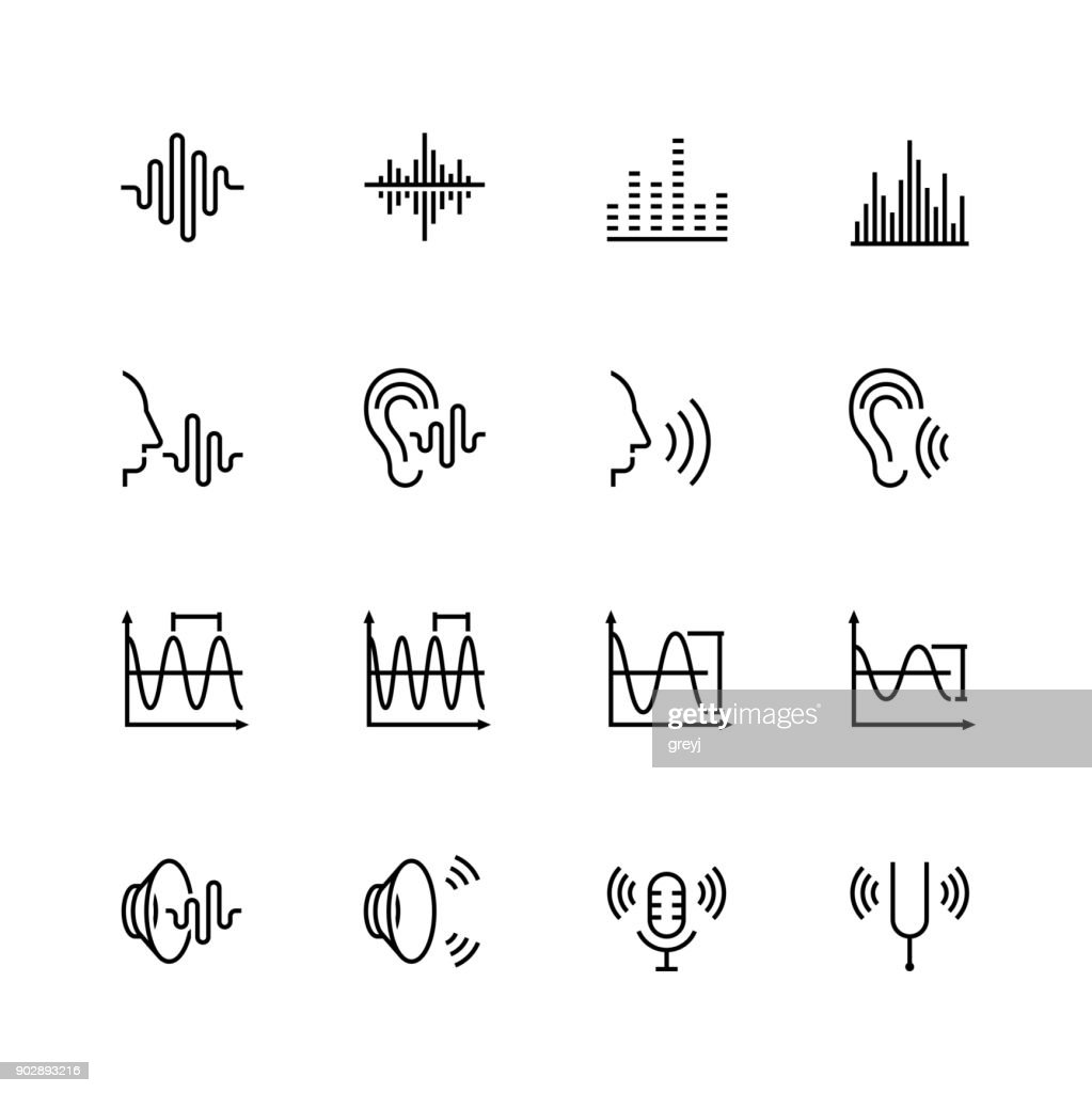 Acoustics and sound vector icon set in thin line style