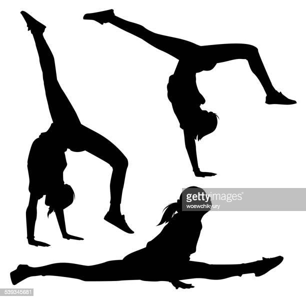 acrobat vector - gymnastics stock illustrations