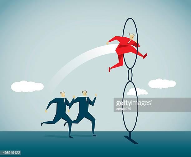 acrobatic activity - high jump stock illustrations