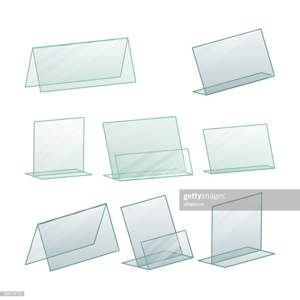 Acrylic Advertising Stand Holder Vector. Advertising Stand Holder For Paper. Transparent Plastic Stand. Isolated Illustration