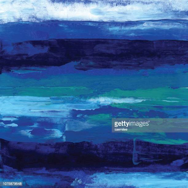 acrylic painting blue line background - oil painting stock illustrations