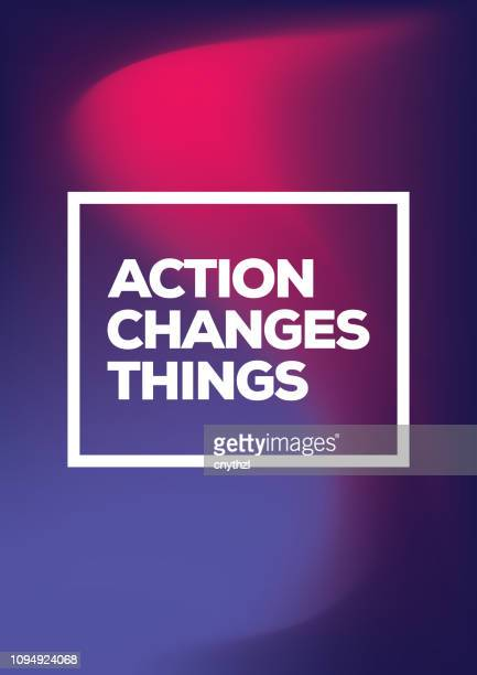 action changes things. inspiring creative motivation quote poster template. vector typography - illustration - motivation stock illustrations, clip art, cartoons, & icons
