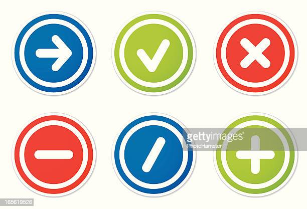action icons round stickers - plus sign stock illustrations, clip art, cartoons, & icons