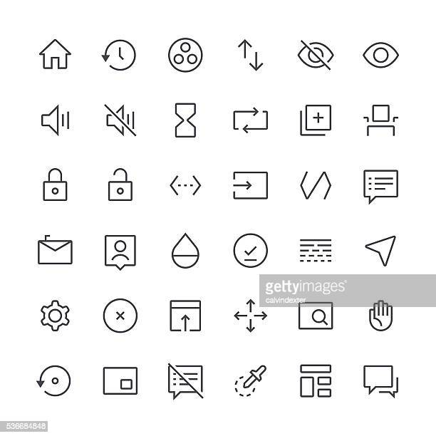 action icons set 7 | thin line series - simplicity stock illustrations, clip art, cartoons, & icons