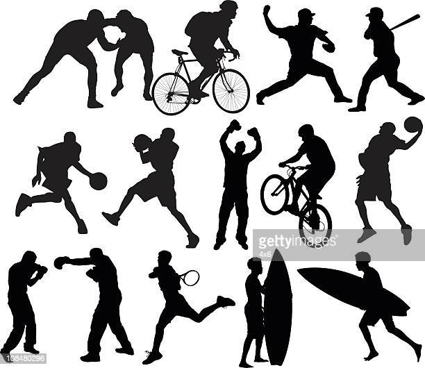 action packed sports - sportsperson stock illustrations