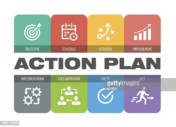 action plan icon set - strategy stock illustrations, clip art, cartoons, & icons