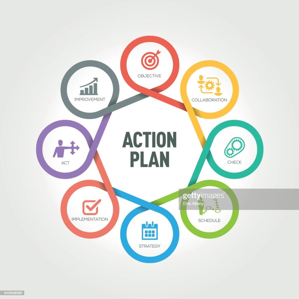 Action Plan infographic with 8 steps, parts, options : stock illustration