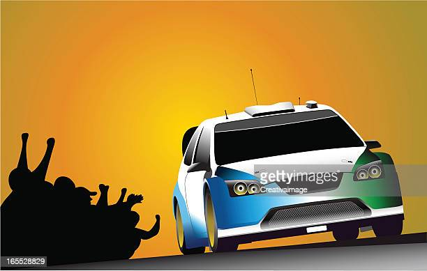 action rally - rally car racing stock illustrations, clip art, cartoons, & icons
