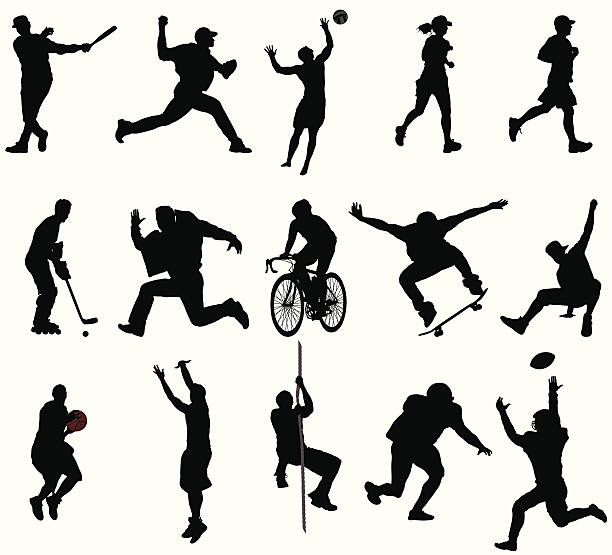 action sports silhouettes - skateboarding stock illustrations