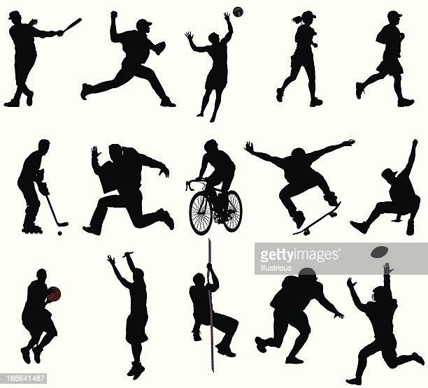 action sports silhouettes - sportsperson stock illustrations