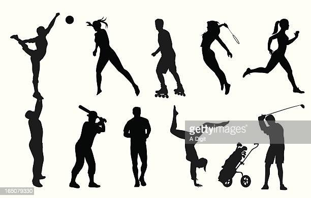 active adults vector silhouette - sportsperson stock illustrations