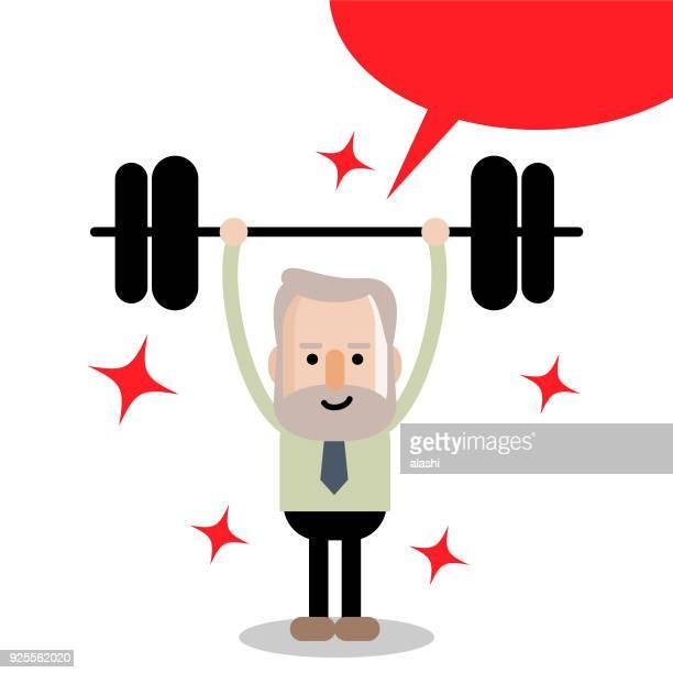 Aktiven und gesunden Lebensstil senior Geschäftsmann nach oben und unten eine Gewicht heben