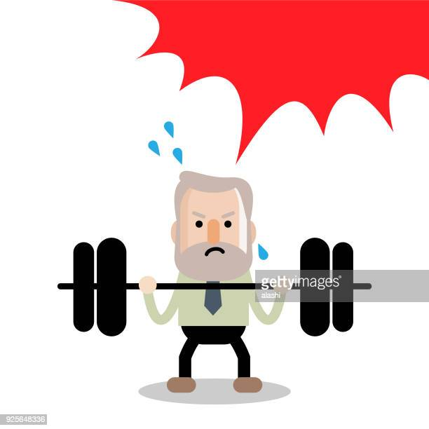 Active and healthy lifestyle senior businessman trying hard to lift a weight up and down