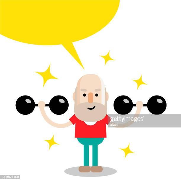 illustrations, cliparts, dessins animés et icônes de vieillard principal mode de vie actif et sain exercice avec des haltères - maison de retraite