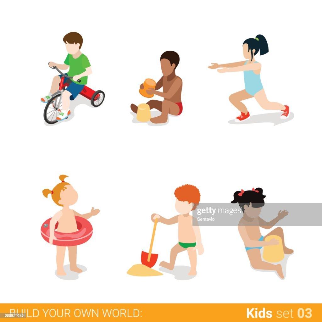 Strand Urlaub Kinder Am Spielen Elternschaft Flache Web Infografik ...