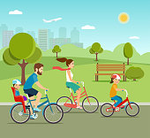 Active family riding on bicycles in the park. Flat vector illustration